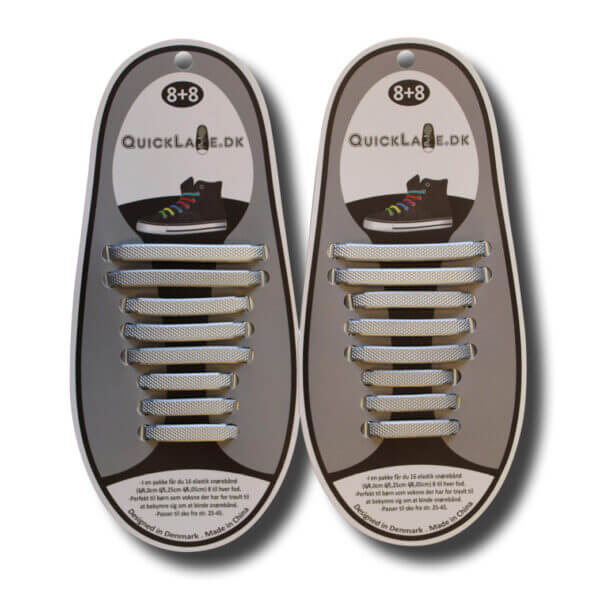 Quicklaze silicone shoelace silver metal